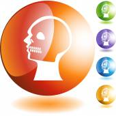 X-ray skull web button — Stock Vector