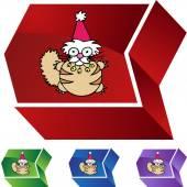 Christmas Cat web icon — Stock Vector