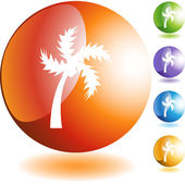 Palm tree icon button — Stockvektor
