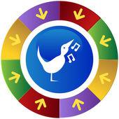 Singing Bird icon button — Stock Vector
