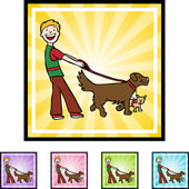 Dog Walker web icon — Stock vektor