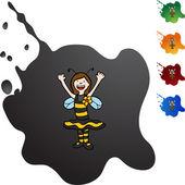 Bee Girl web icon — Stock Vector