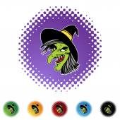 Witch web button — Stock vektor