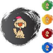 Kerstmis hond web pictogram — Stockvector