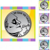 Money coin web button — Stock Vector