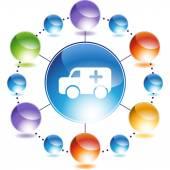 Ambulance web button — Vetor de Stock