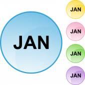 January web button — Stock Vector