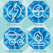 Energy Sector Icon Set — Stock Vector