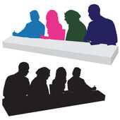 Judging Panel Silhouette — Stock Vector