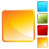 Square Button Icon Set — Stock Vector