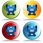 Cow Cartoon Character Button — Stock Vector #68372617