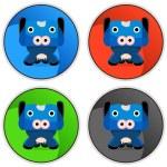 Cow Cartoon Character Button — Stock Vector #68375501