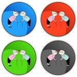 Kissing Senior Couple — Stock Vector #68372523