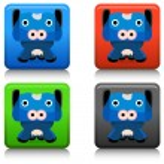 Cow Cartoon Character Button — Stock Vector #68373723