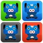 Cow Cartoon Character Button — Stock Vector #68373985