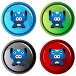 Cow Cartoon Character Button — Stock Vector #68376567
