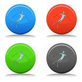 Skier Icon Set — Vector de stock