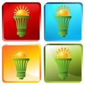 Solar Energy Efficient Lightbulb — Stock Vector