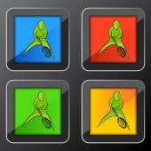 Tennis Player Icon Button — Stock Vector