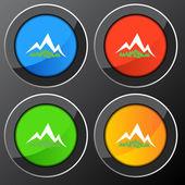 Mountain Forest Button — Stock Vector