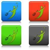 Campo da tennis giocatore icona pulsante — Vettoriale Stock