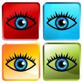 Blue Eye Icon Button — Wektor stockowy
