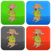 Dog Wearing Sweater Button — Stock Vector