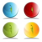Tennis Player Icon Set Button — 图库矢量图片