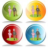 Senior Citizens Walking — Stock Vector