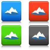 Mountain Lake Button — Stock Vector