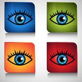 Blue Eye Icon Button — Stock Vector