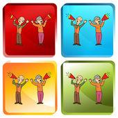 старшие, кричащие через портативные мегафоны — Cтоковый вектор