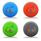 Loving People Icon Button — Vector de stock