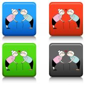 Kissing Senior Couple — Stock Vector