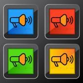 Bullhorn icon Button — Stock Vector