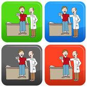 Health Insurance Card Button — Stock Vector