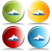 Mountain Lake Button — Stockvector