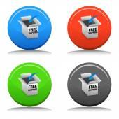 Free Shipping 3D Box — Stock Vector