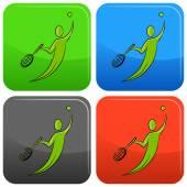 Tennis Player Icon Button — Stock vektor
