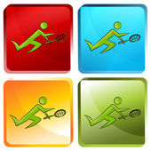 Tennis Player Button — Stock Vector
