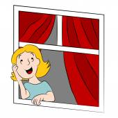 Cartoon Girl Daydreaming at Window — Stock Vector