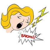 Woman Snoring Loudly Cartoon — Stock Vector
