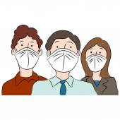 People Wearing Masks for Protection — Stock Vector