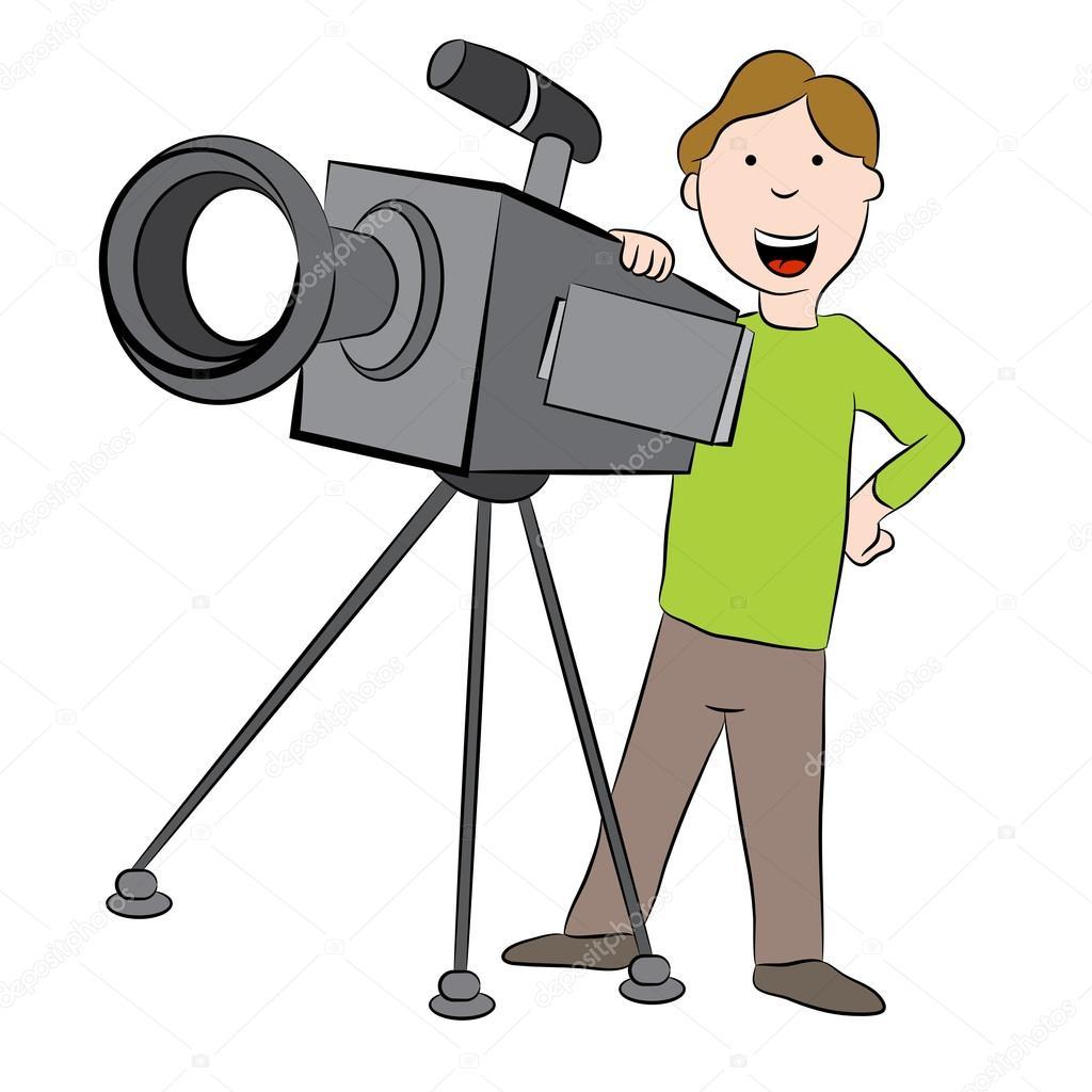 Dibujos animados camarógrafo con cámara — Vector de stock ...