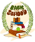"""Vector illustration of """"Back to school"""" text and books — Stock Vector"""