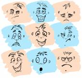 Set of hand drawn different emotions — Stock Vector