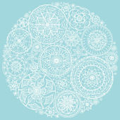 Circle of round lace doilies. — Stock Vector