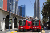 Two red trolley in San Diego. — Stock Photo