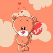 Teddy bear with red balloon. — Stock Photo