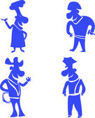 Illustration of funny cartoon character in monochrome silhouette — Stock Photo